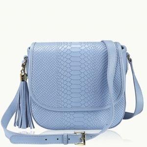 Gigi New York Hydrangea Embossed Python Saddle Bag